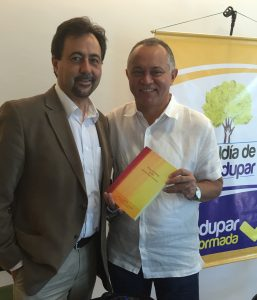 Meeting with Mayor Fredys Miguel Socarras Reales and giving him a gift of the Tip O'Neill Lectures book