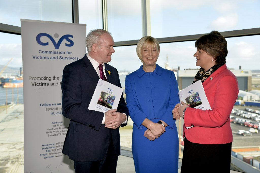 Pictured at the Commission for Victims and Survivors Conference to review the Victims Strategy are Deputy First Minister Martin McGuinness, Commissioner Judith Thompson and First Minster Arlene Foster (Credit: VCS website. Press Eye - Northern Ireland -9th March 2016)
