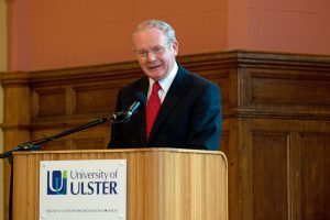 Deputy First Minister Martin McGuinness delievers his address in the Great Hall at the University of Ulster at Magee during the John Hume and Thomas P. O'Neill Chair In Peace announcement.